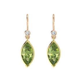 Marquise Peridot 14K Yellow Gold Earrings with Diamond