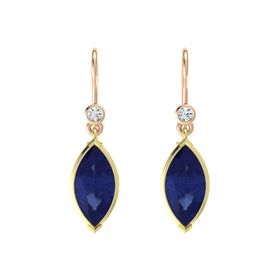 Marquise Blue Sapphire 14K Yellow Gold Earring with Diamond