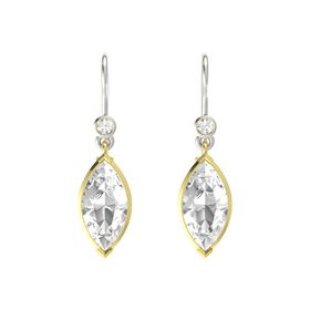 Marquise Rock Crystal 14K Yellow Gold Earring with Rock Crystal
