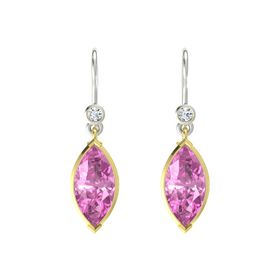Marquise Pink Sapphire 14K Yellow Gold Earring with Diamond