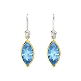 Marquise Blue Topaz 14K Yellow Gold Earring with White Sapphire