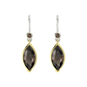 Marquise Smoky Quartz 14K Yellow Gold Earring with Smoky Quartz