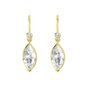 Marquise Rock Crystal 14K Yellow Gold Earrings with Diamond