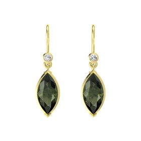 Marquise Green Tourmaline 14K Yellow Gold Earrings with White Sapphire