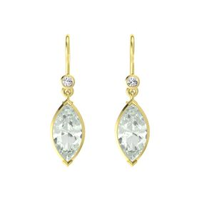 Marquise Green Amethyst 14K Yellow Gold Earrings with White Sapphire