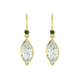 Marquise Green Amethyst 14K Yellow Gold Earring with Alexandrite