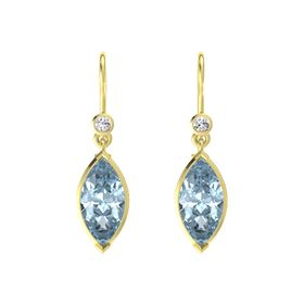 Marquise Aquamarine 14K Yellow Gold Earring with White Sapphire