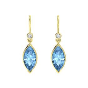 Marquise Blue Topaz 14K Yellow Gold Earrings with Diamond