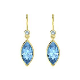 Marquise Blue Topaz 14K Yellow Gold Earrings with Aquamarine