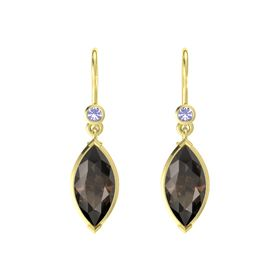 Marquise Smoky Quartz 14K Yellow Gold Earring with Tanzanite