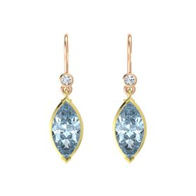 Marquise Aquamarine 14K Yellow Gold Earring with Diamond