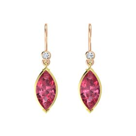 Marquise Pink Tourmaline 14K Yellow Gold Earring with Diamond