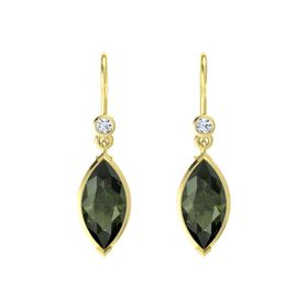 Marquise Green Tourmaline 14K Yellow Gold Earrings with Diamond