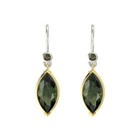 Marquise Green Tourmaline 14K Yellow Gold Earrings with Green Tourmaline