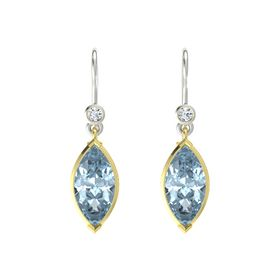 Marquise Aquamarine 14K Yellow Gold Earrings with Diamond