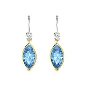Marquise Blue Topaz 14K Yellow Gold Earring with Diamond