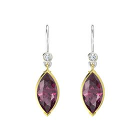 Marquise Rhodolite Garnet 14K Yellow Gold Earring with Diamond