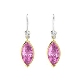 Marquise Pink Sapphire 14K Yellow Gold Earrings with Diamond