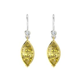 Marquise Yellow Sapphire 14K Yellow Gold Earring with Diamond