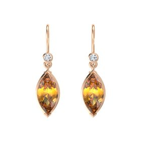 Marquise Citrine 18K Rose Gold Earring with Diamond