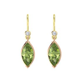 Marquise Peridot 18K Rose Gold Earring with Diamond