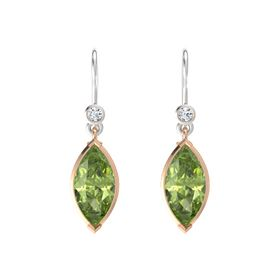 Marquise Peridot 18K Rose Gold Earrings with Diamond