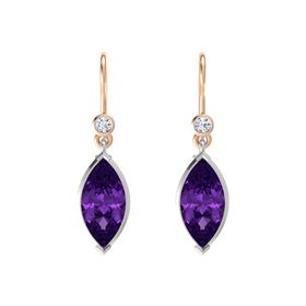Marquise Amethyst 18K White Gold Earring with Diamond