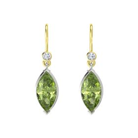 Marquise Peridot 18K White Gold Earring with Diamond