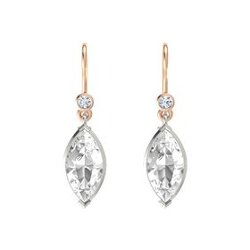 Marquise Rock Crystal 18K White Gold Earring with Diamond