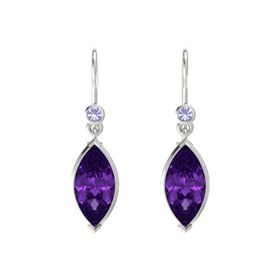 Marquise Amethyst 18K White Gold Earring with Tanzanite