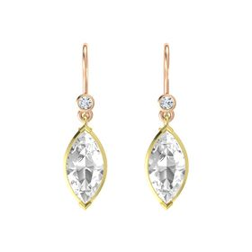 Marquise Rock Crystal 18K Yellow Gold Earrings with Diamond