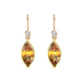 Marquise Citrine 18K Yellow Gold Earring with Diamond