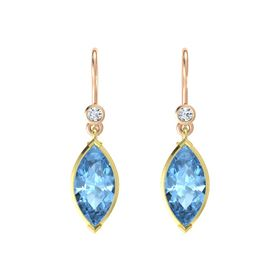 Marquise Blue Topaz 18K Yellow Gold Earring with Diamond