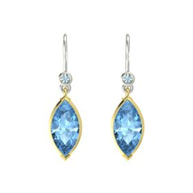 Marquise Blue Topaz 18K Yellow Gold Earrings with Aquamarine