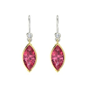 Marquise Pink Tourmaline 18K Yellow Gold Earring with Diamond
