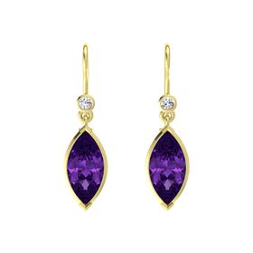 Marquise Amethyst 18K Yellow Gold Earring with White Sapphire