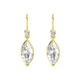Marquise Rock Crystal 18K Yellow Gold Earrings with White Sapphire