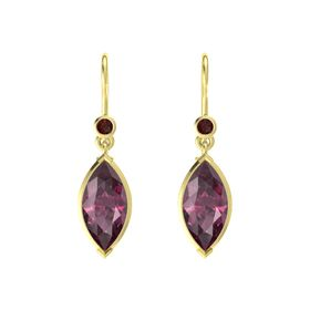 Marquise Rhodolite Garnet 18K Yellow Gold Earring with Red Garnet