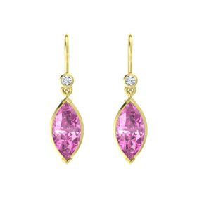 Marquise Pink Sapphire 18K Yellow Gold Earrings with Diamond