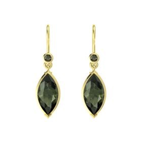 Marquise Green Tourmaline 18K Yellow Gold Earring with Green Tourmaline