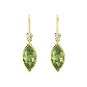 Marquise Peridot 18K Yellow Gold Earrings with Diamond