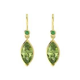 Marquise Peridot 18K Yellow Gold Earring with Emerald