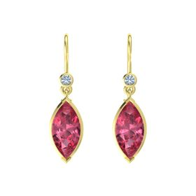 Marquise Pink Tourmaline 18K Yellow Gold Earring with Blue Topaz