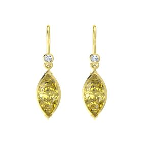 Marquise Yellow Sapphire 18K Yellow Gold Earrings with Diamond