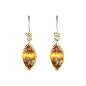 Marquise Citrine 18K Yellow Gold Earrings with Yellow Sapphire