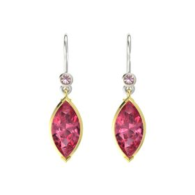 Marquise Pink Tourmaline 18K Yellow Gold Earrings with Rhodolite Garnet