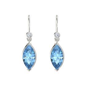 Marquise Blue Topaz Platinum Earrings with Diamond
