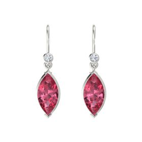 Marquise Pink Tourmaline Platinum Earrings with Diamond