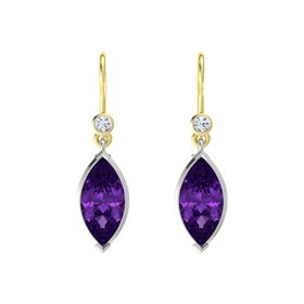 Marquise Amethyst Platinum Earrings with Diamond