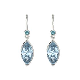 Marquise Aquamarine Platinum Earring with London Blue Topaz
